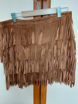 falda flecos de ante