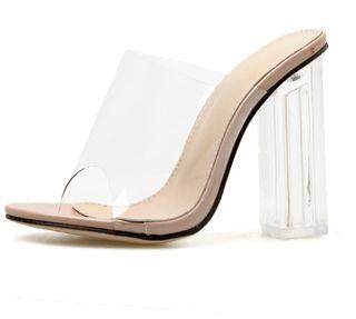 tacones zapatos transparentes
