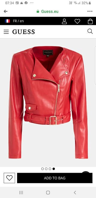 Guess Cropped Faux Leather Jacket