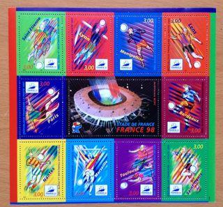 FRANCIA hoja sellos nuevos 1998 Mundial futbol