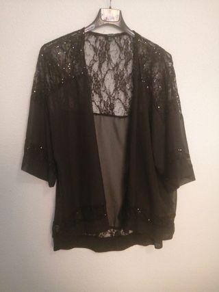 chaqueta manga tres cuartos fiesta negra