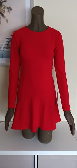 vestido corto rojo.talla s. zara.nuevo
