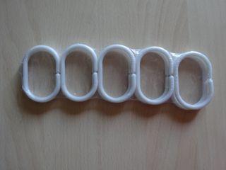10 Anillas plástico para cortinas de baño NUEVAS