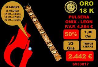 Pulsera Onix y Leon Oro 18 Kilates