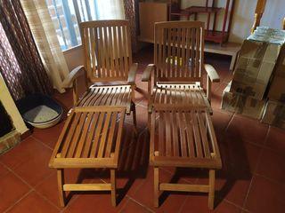 2 tumbonas madera maciza de acacia plegable