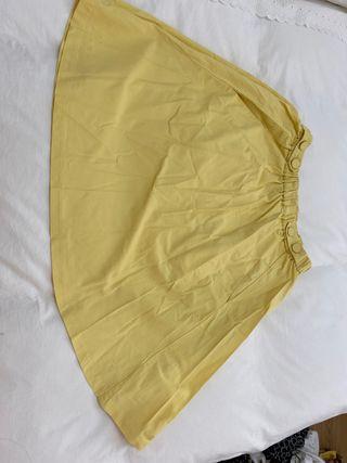 Falda vuelo amarilla Zara M