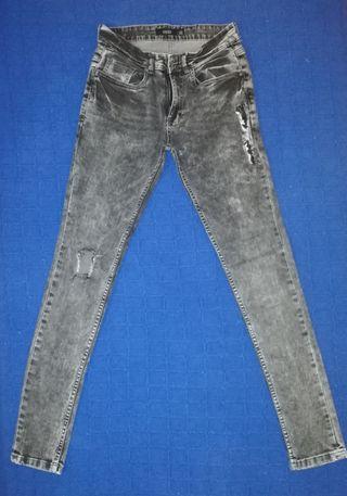 Pantalón jaspeado gris oscuro/negro