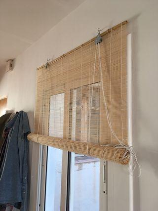 Estores de bambú.