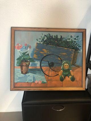 Cuadro infantil óleo sobre lienzo marco vintage