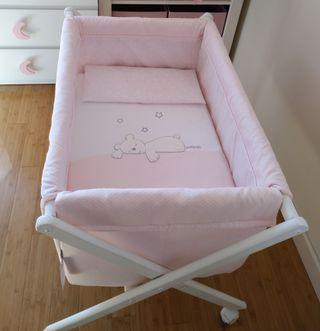 preciosa mini cuna / minicuna bebé niña + colchon