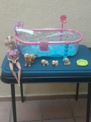 barbie piscina y perritos