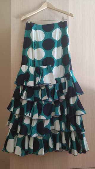 Falda azul de flamenco