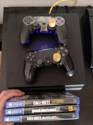 Ps4 Slim 1TB dos mandos 3 juegos