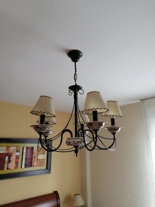 lampara dormitorio cerámimica hierro forjado