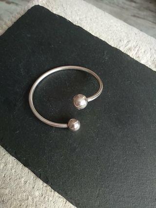 pulsera rígida plata doble bola