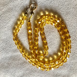 Vintage Sparkly Yellow Crystal Bead Necklace