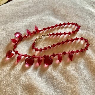 Vintage Red Crystal Glass Plastic Necklace