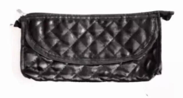 Black Quilted Small Make-Up Brushes Bag