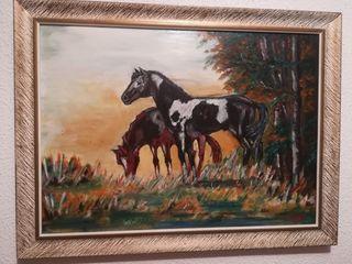 Cuadro pintado a mano de caballos