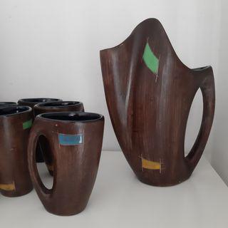 Jarra y Vasos de Ceramica años 50/60
