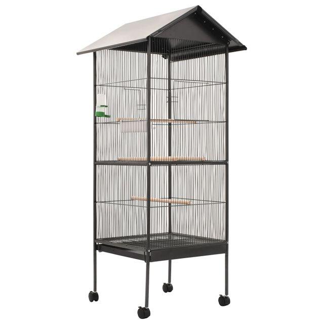 Jaula para pájaros con techo de acero 66x66x155 cm
