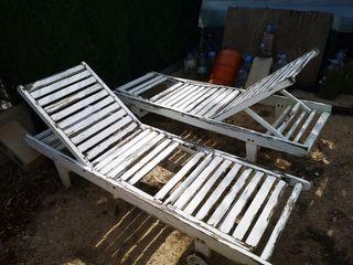Tumbonas de madera para exterior para restaurar
