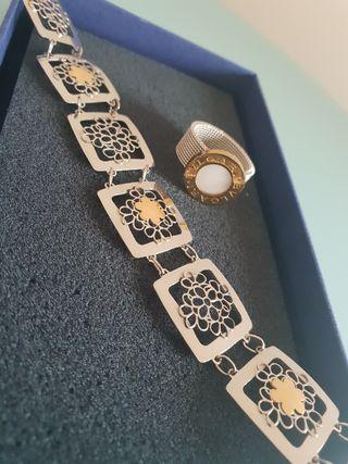 pulsera plata y anillo bulgari
