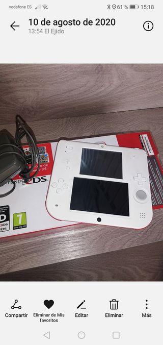 Nintendo 2DS blanca y roja.