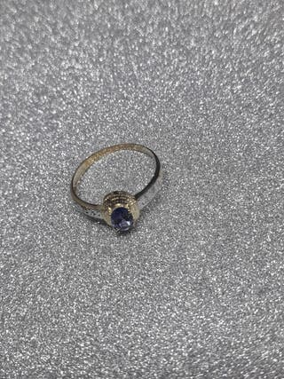 9ct Yellow Gold Oval Natural Iolite&Diamond RING