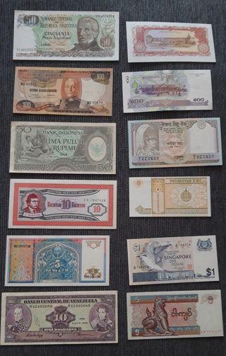 billetes extranjeros Sin Circular