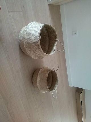 cestas mimbres NUEVAS 45x40cm y 35x32cm