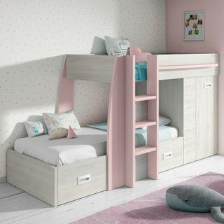 Cama litera infantil con cajones y armario