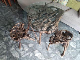 Mesa y bancos de raíz de olivo