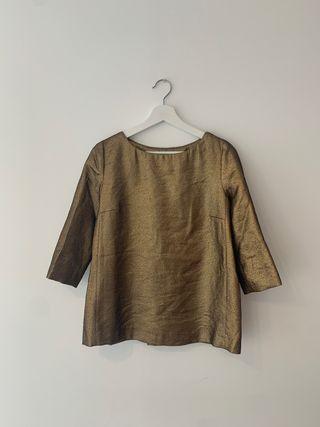 Camiseta blusa dorado negro uterque