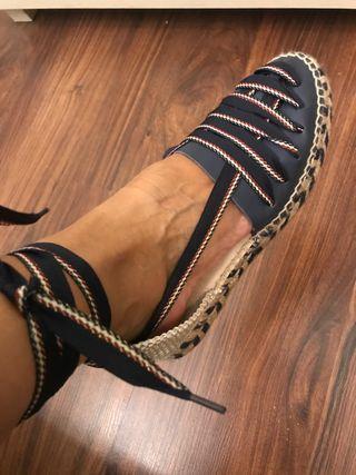 Sandalia piel y esparto nuevas