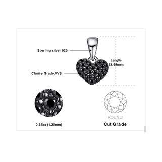 J.P Natural Black Spinel Heart Pendant Necklace