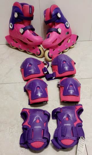 lote patines y protectores oxelo infantil