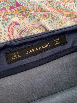 Falda piel azul marino ZARA