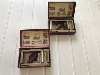 Caja x 2 con afilador cuchillas afeitar suizas.