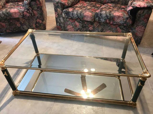 Mesa salón cristal y metacrilato