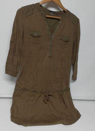 Vestido algodon 100% caqui Calzedonia talla M/L