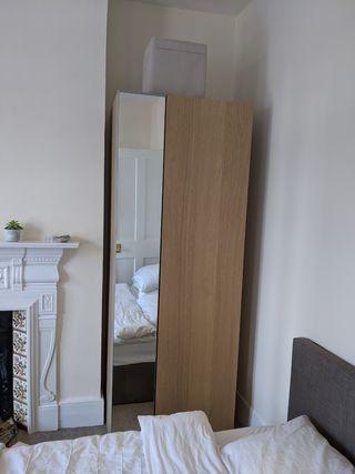 2X Ikea PAX Wardrobe beige, mirror on door