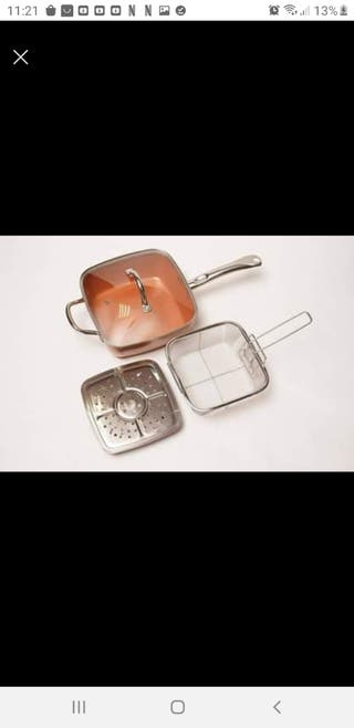 Sarten con freidora - Cobre, multiusos, acero inox