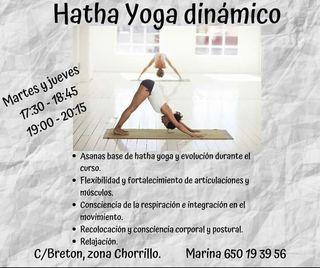 Clases regulares de Hatha yoga dinámico.