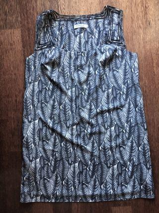Vestido Indiwoman Talla L Plumas Azul Gris