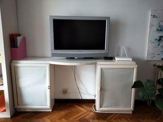 URGE Mueble de televisión blanco con dos puertas