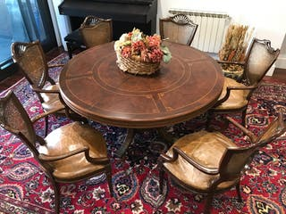 Mesa comedor antigua con 6 sillas
