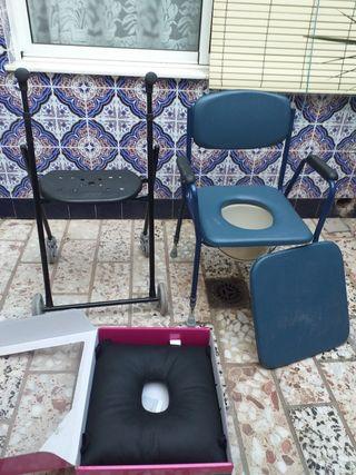 silla,andador,cojin antiescaras y barandilla de ca