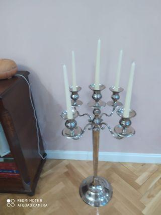 Candelabro plateado alto 5 velas