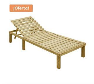 Tumbona de madera de pino 200×70 cm OFERTA!!!